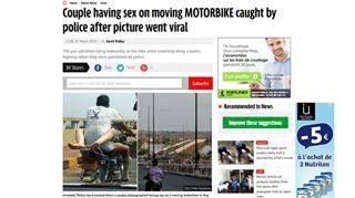 Un couple pris en photo en train de faire l'amour sur une moto tout en la conduisant 70