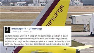 Crash- le vibrant hommage d'une passagère au commandant de bord après un vol sur la compagnie Germanwings 7