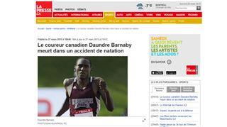 Drame pour l'équipe d'athlétisme canadienne- le coureur Daundre Barnaby, 24 ans, s'est noyé 16