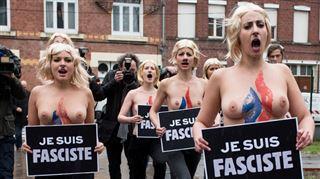 Départementales en France- des Femen perturbent le vote de Marine Le Pen à Hénin-Beaumont 7