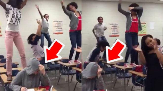 Réaction extrême- râleuse, elle est agacée par les élèves de sa classe qui s'éclatent autour d'elle (vidéo) 5
