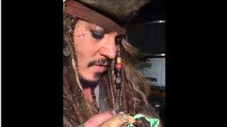 Johnny Depp, déguisé en Jack Sparrow, donne le biberon a un bébé chauve-souris (vidéo) 19