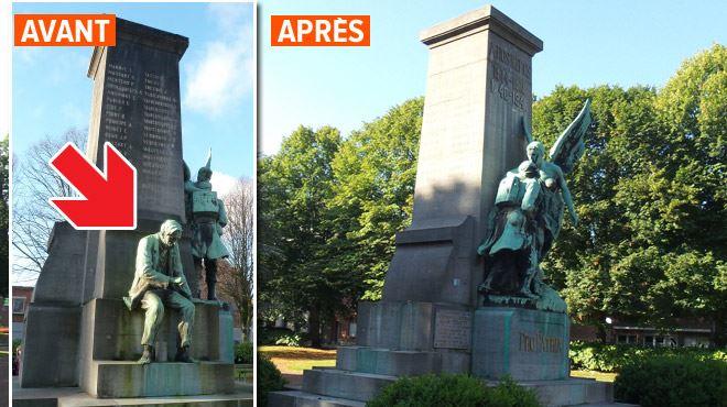 ROCAMBOLESQUE- une statue arrachée du monument aux morts et tirée derrière une voiture dans la nuit à Gilly 1