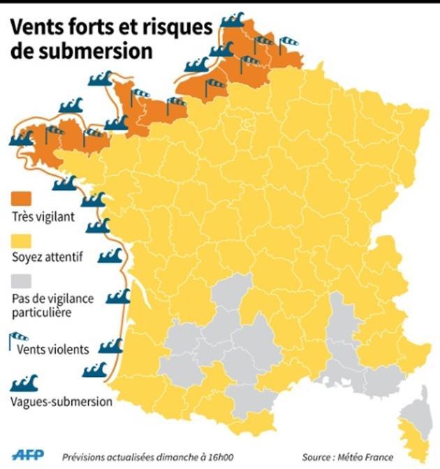 Renforcement des vents violents, 22 départements en alerte orange — Intempéries