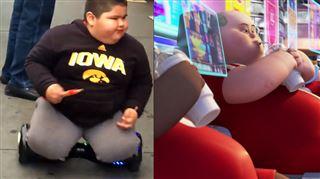 Un enfant obèse se déplace en hoverboard en mangeant des snacks- une vision digne de Wall-E qui inquiète les internautes (vidéo) 4